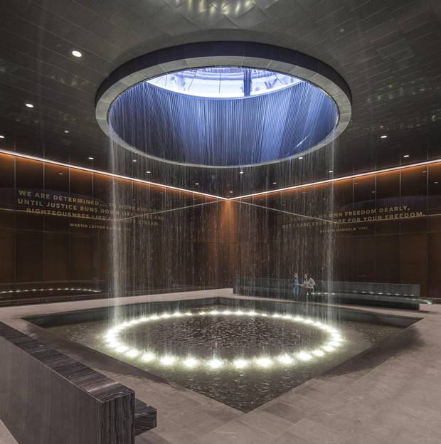 The 'Contemplation Court' features a fountain descending from the ceiling.