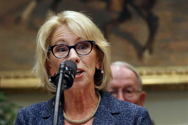 Image: Secretary of Education Betsy DeVos speaks during an event with Governors where U.S. President Donald Trump signed an executive order on education at the White House in Washington