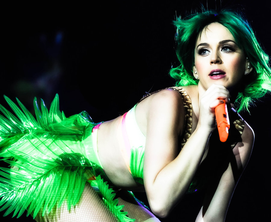 Katy Perry seductively poses on stage in Northern Island