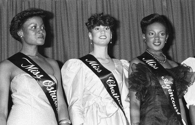 Miss Black Ontario Contestants: Miss Oshawa, Miss Chatham and Ms. Agincourt, 1981.