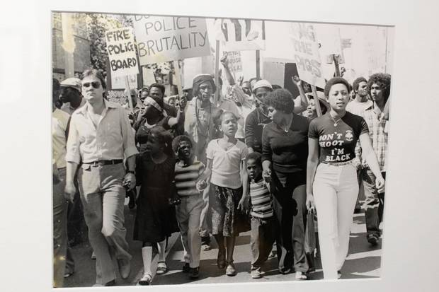 Albert Johnson's widow and children lead march in protest of his murder by Toronto police, 1980. Courtesy of artist, Jules Elder