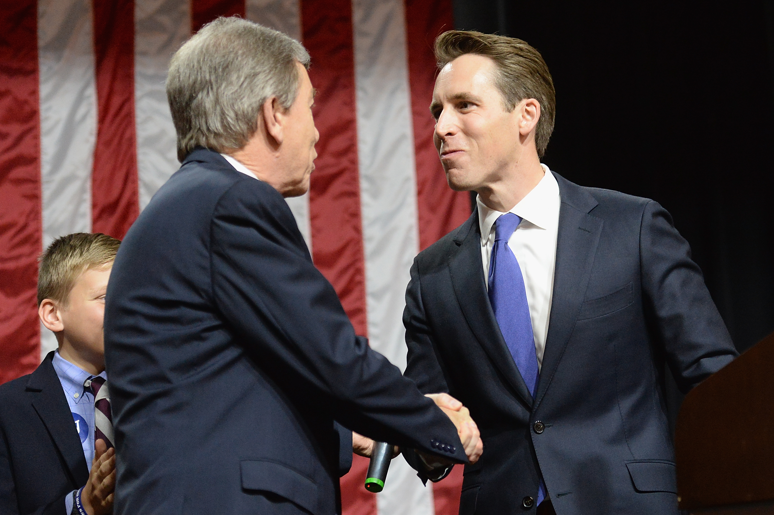 Some Missouri Republicans are urging newly elected Attorney General Josh Hawley, right, to run for Senate. Attorneys general are looking at potential Senate bids in three tossup states.(Michael B. Thomas/Getty Images)