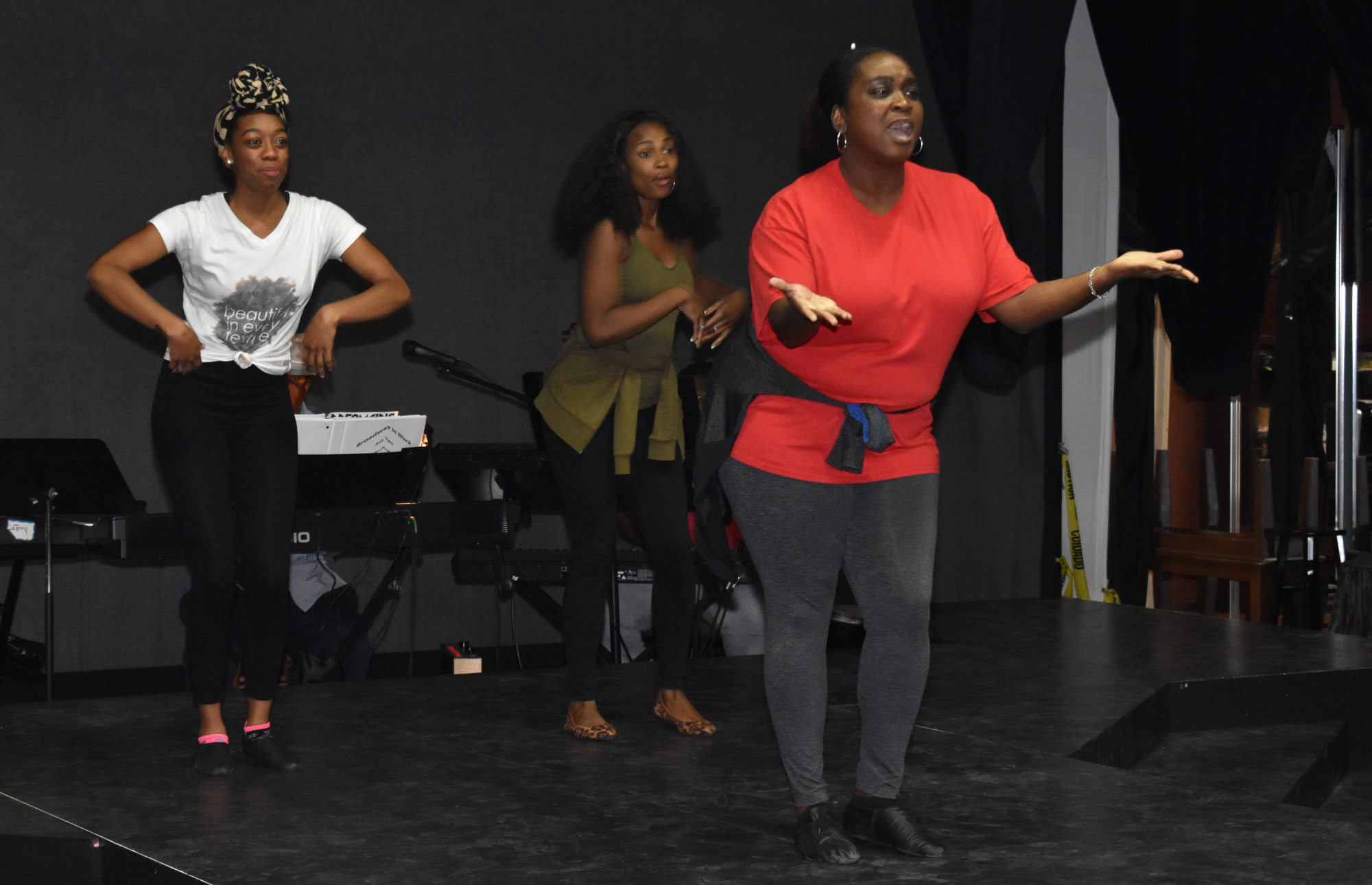 "Cherise James, JoAnna Ford and Syreeta Banks rehearse a song from ""Dreamgirls"" on June 14 at The Westcoast Black Theatre Troupe. Photo by Niki Kottmann"