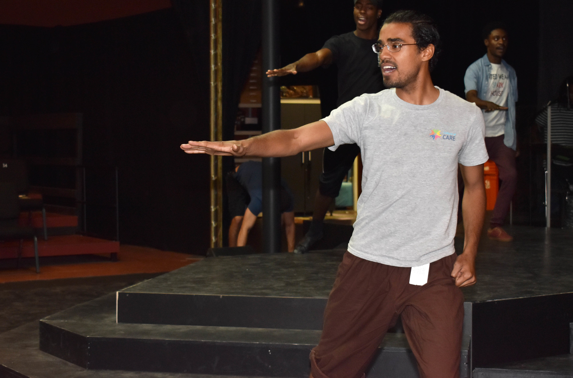 Michael Mendez practices a musical number during rehearsal on June 14 at The Westcoast Black Theatre Troupe.