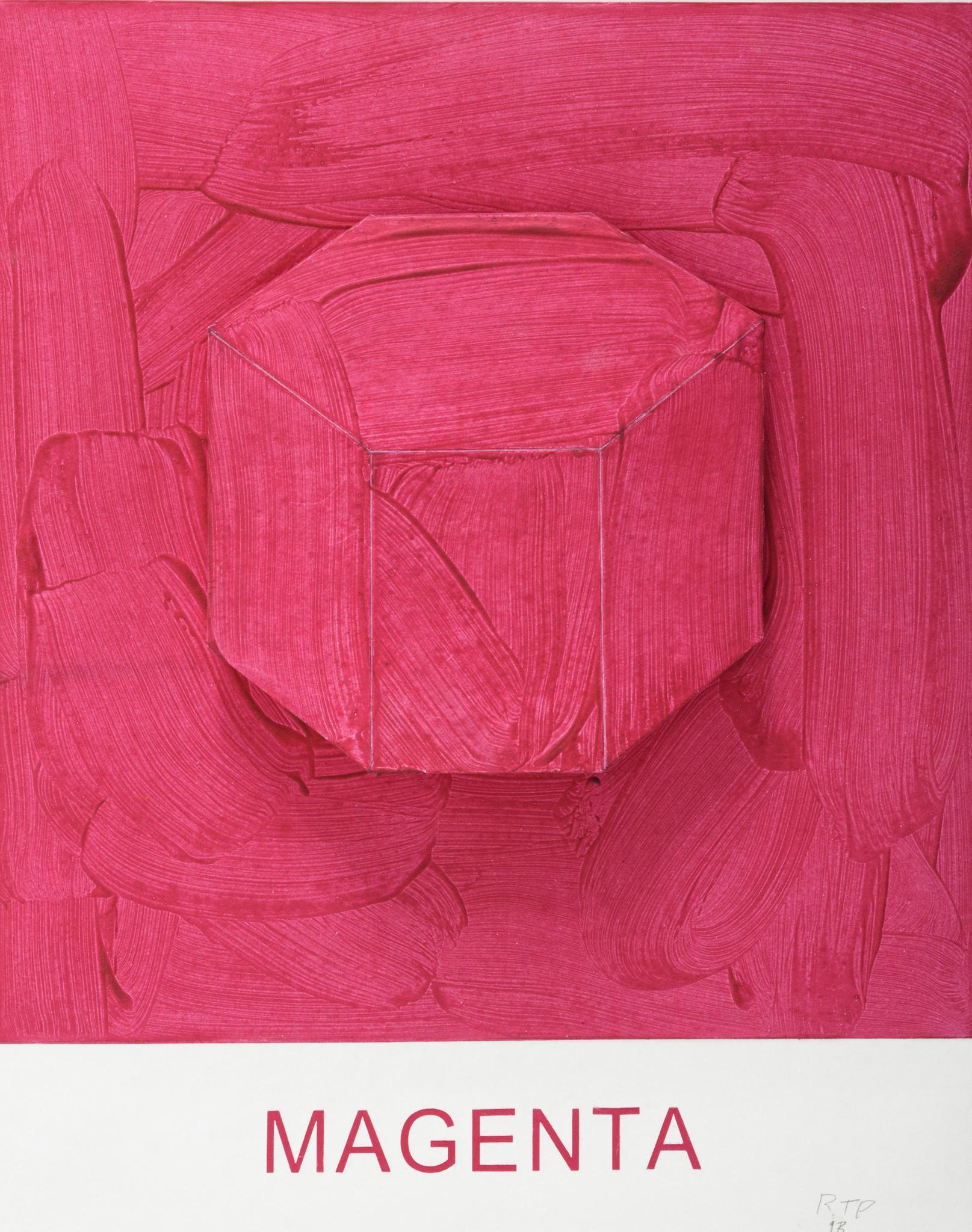 """Eight Colorful Inside Jobs: Magenta,"" 2017, by John Baldessari — at Mixografia."