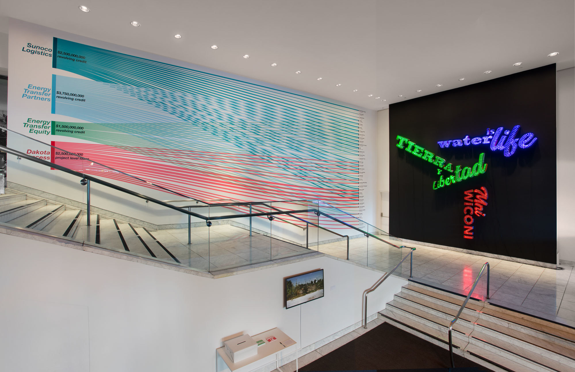 An installation view of a project by L.A. artist Andrea Bowers that charts the connections between banking and oil at the Hammer Museum.