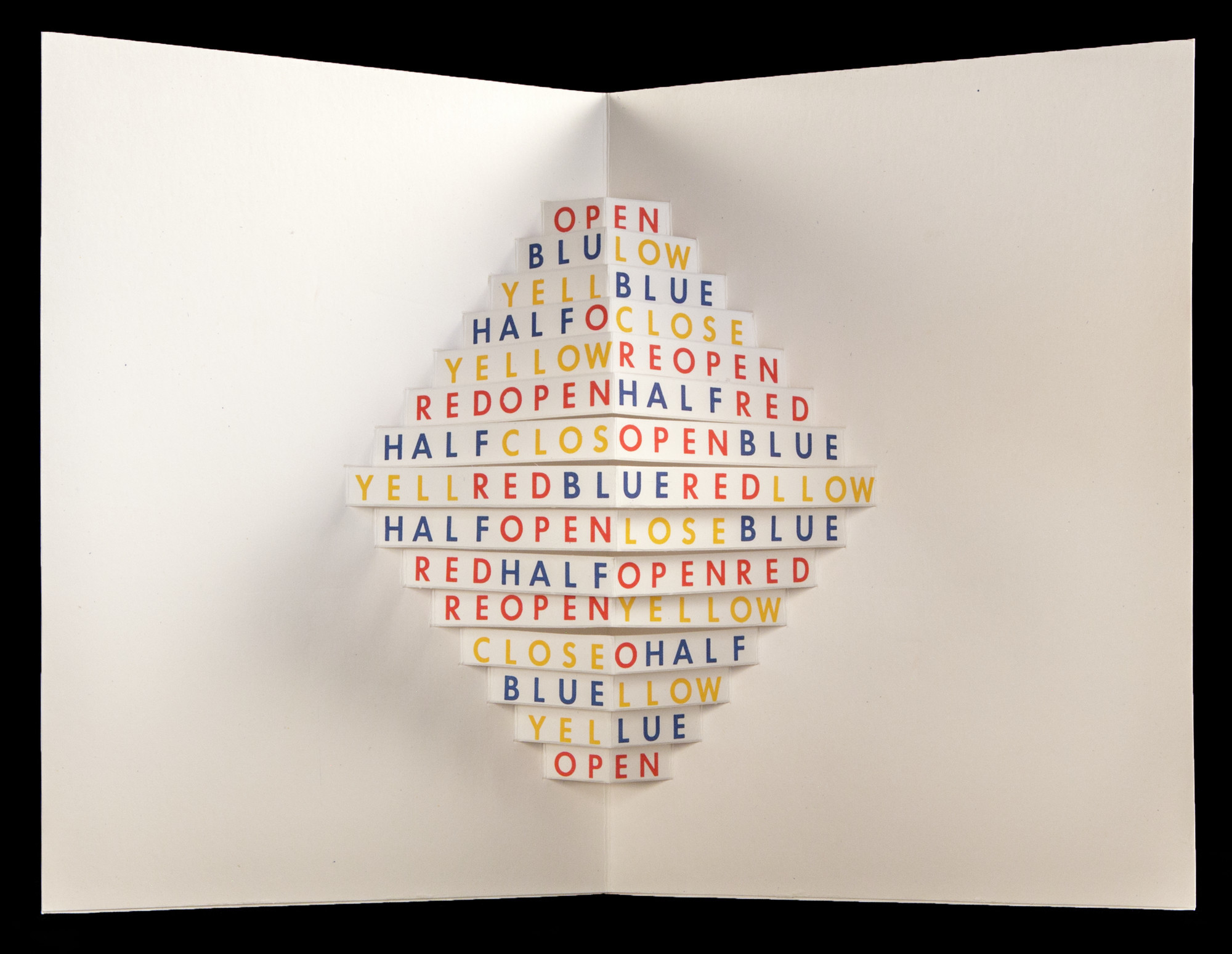 """""""Open"""" (""""Abre""""), by Augusto de Campos and Julio Plaza, from """"Poemobiles,"""" at the Getty Research Institute."""