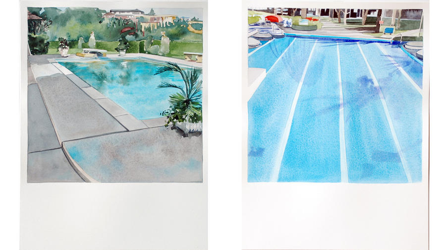 """Paintings from Amy Park's new series at Kopeikin Gallery, inspired by Ed Ruscha's art book """"Nine Swimming Pools (and a Broken Glass)."""""""