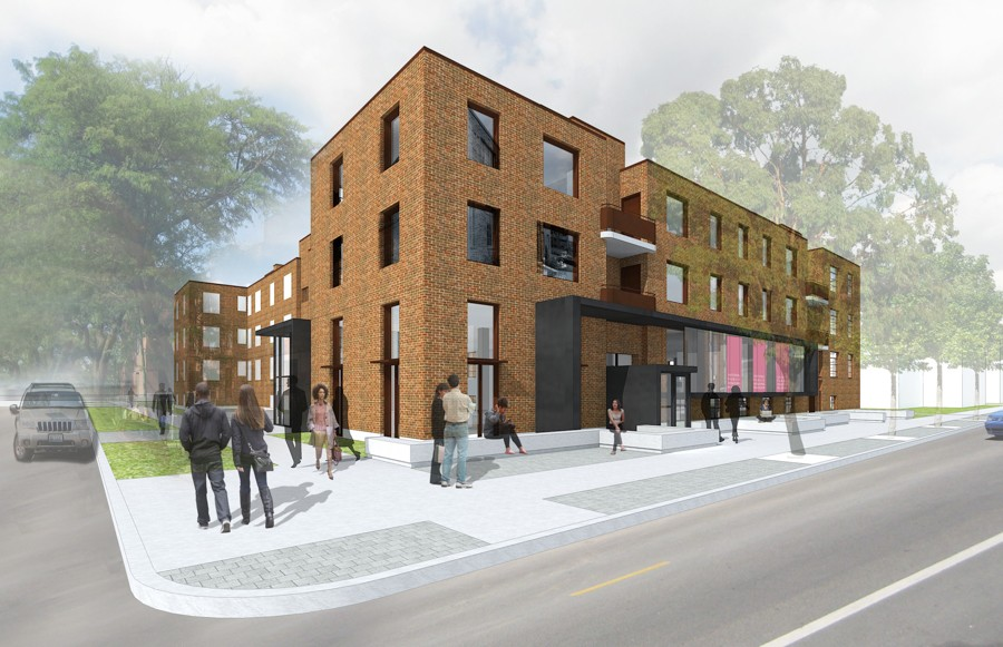 Rendering of the exterior of the National Public Housing Museum building - LANDON BONE BAKER ARCHITECTS