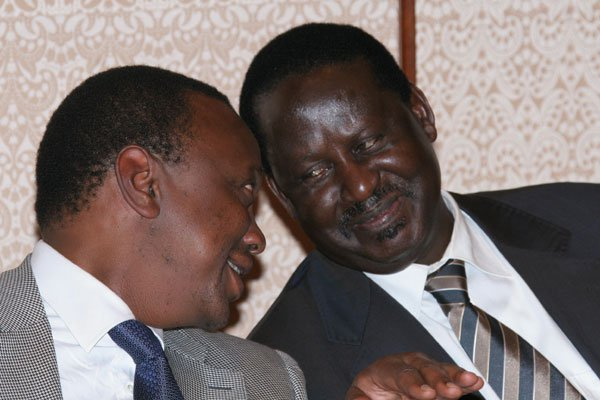 Prime Minister Raila Odinga and Finance minister Uhuru Kenyatta at Imperial Hotel in Tokyo where they met Kenyans living in the city on February 16, 2010. Photo/PMPS