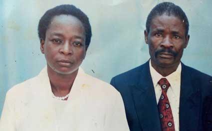 Patrick Wame Atinda, 64 with his wife Mary Wame