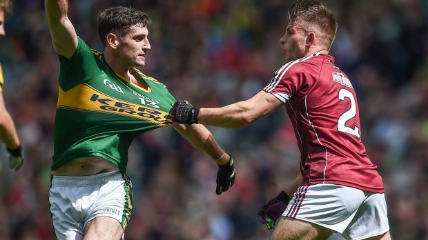 Galway's Eoghan Kerin tussles with Paul Geaney of Kerry. Photograph: Tommy Grealy/Inpho