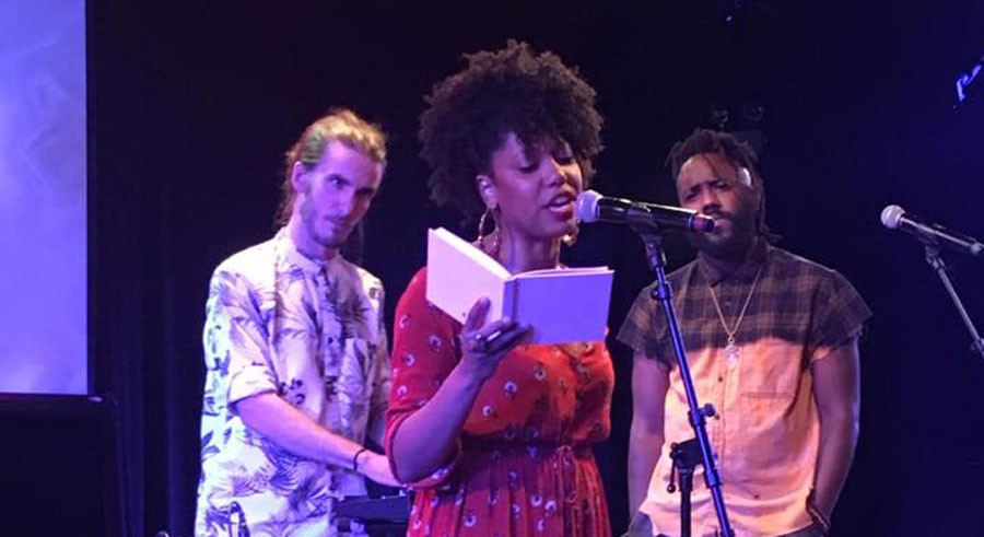 The Growing Concerns Poetry Collective at their album-release event at Steppenwolf Theatre in August - DON AUSTIN
