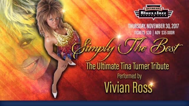 Back from Las Vegas; DC's own is rocking Tina Turner like no one else. A must see show, she's simply the BEST! BethesdaBluesJazz.com. Tickets $30.