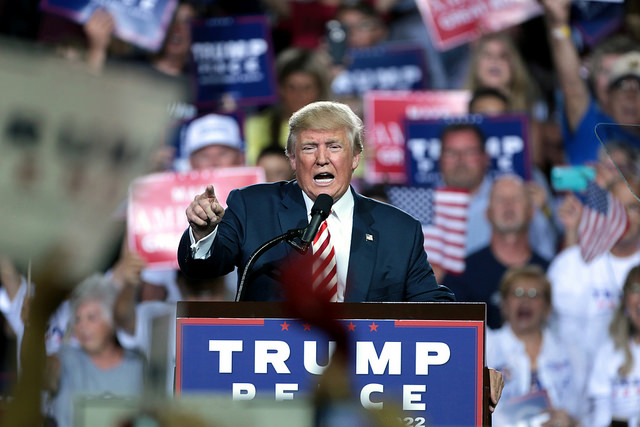 Donald Trump speaks to supporters at a campaign rally at the Prescott Valley Event Center in Prescott Valley, Arizona, on October 4, 2016. (Photo: Gage Skidmore)
