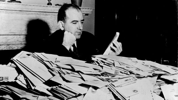 Senator Joseph McCarthy with the avalanche of mail that greeted his crusade against communism in the US government and ...