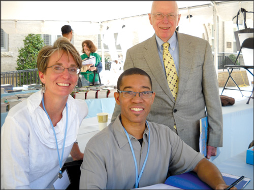 Sandra Hughes-Hassell (left), author Brian Pinkney (center), and UNC donor Gene Story. Photo courtesy of UNC/School of Information and Library Science