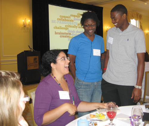 """Author Kekla Magoon (left) at the """"Building a Bridge to Literacy"""" conference with participants Julius Walker (center) and Andrew Truesdale. Photo courtesy of UNC/School of Information and Library Science"""