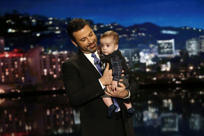 Jimmy Kimmel is keeping the pressure on U.S. politicians, appearing on his late-night show with son Billy in his arms, writes Johanna Schneller.
