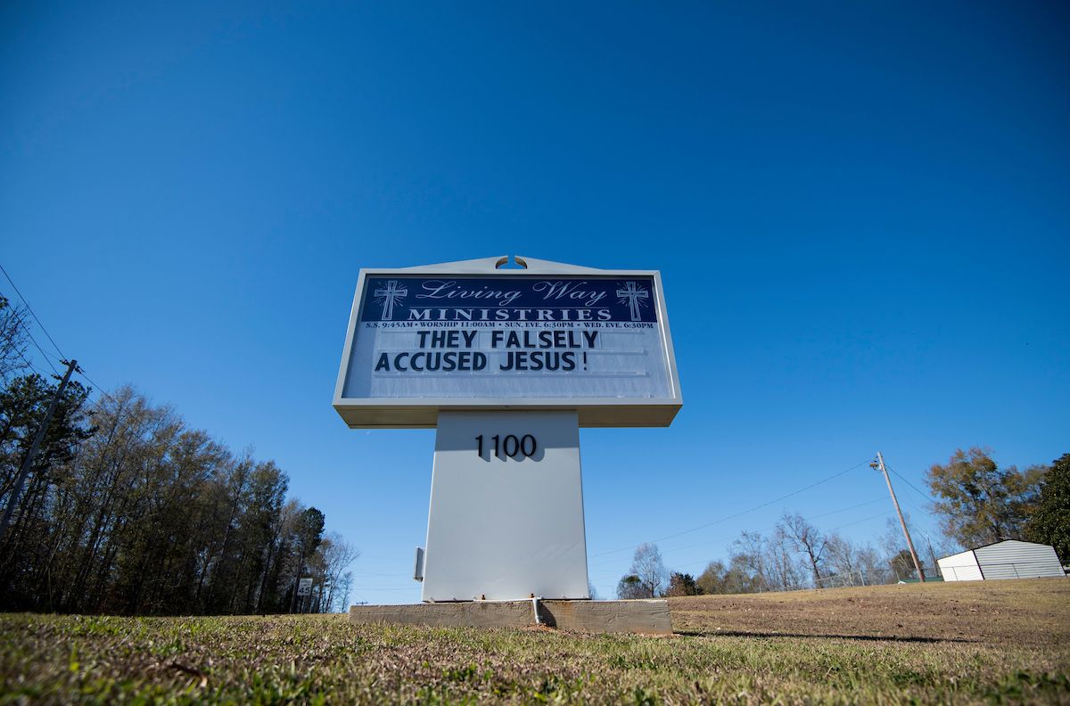 "The sign outside of the Living Ways Ministries church in Opelika, Ala., reads ""They Falsely Accuses Jesus!"" (Bill Clark/CQ Roll Call)"