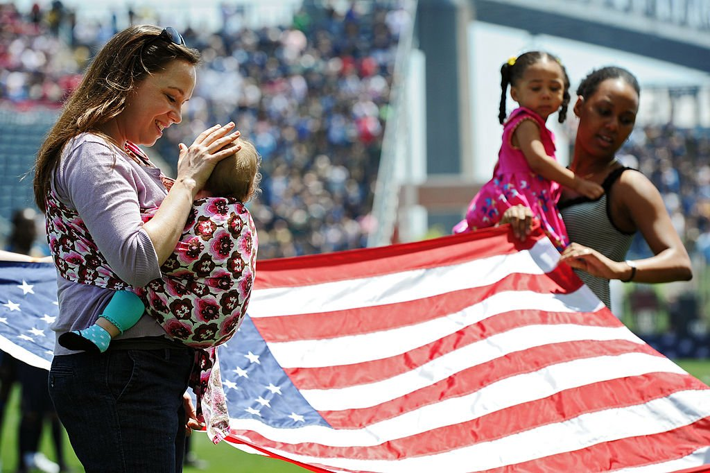 US flag America mothers children babies moms