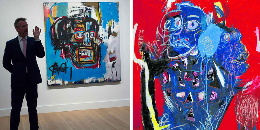 A Sotheby's official speaking about an untitled painting by Jean-Michel Basquiat at Sotheby's in New York (left) and Ehoodi Kichapi's portrait at Villa Rosa Kempinski in Nairobi (right). His style of art has a resemblance to Basquiat. Photos | Courtesy