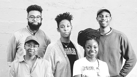 """Members of the film collective The Black Aesthetic: (back row, left to right) Jamal Batts, Leila Weefur, Ryanaustin Dennis; (front row) Zoé Samudzi, Malika """"Ra"""" Imhotep. They organize screenings, moderate discussions, and publish books. - PHOTO BY LANCE YAMAMOTO"""