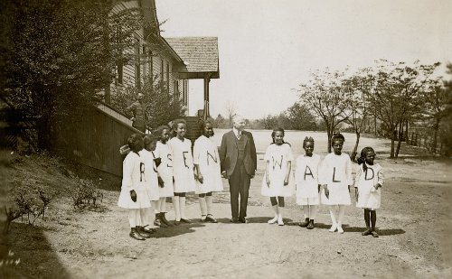 Julius Rosenwald with students from a Rosenwald school
