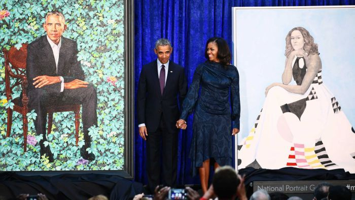 The Obamas both expressed awe at their portraits, which will be added to the National Portrait Gallery's collection (Pic: Reuters).