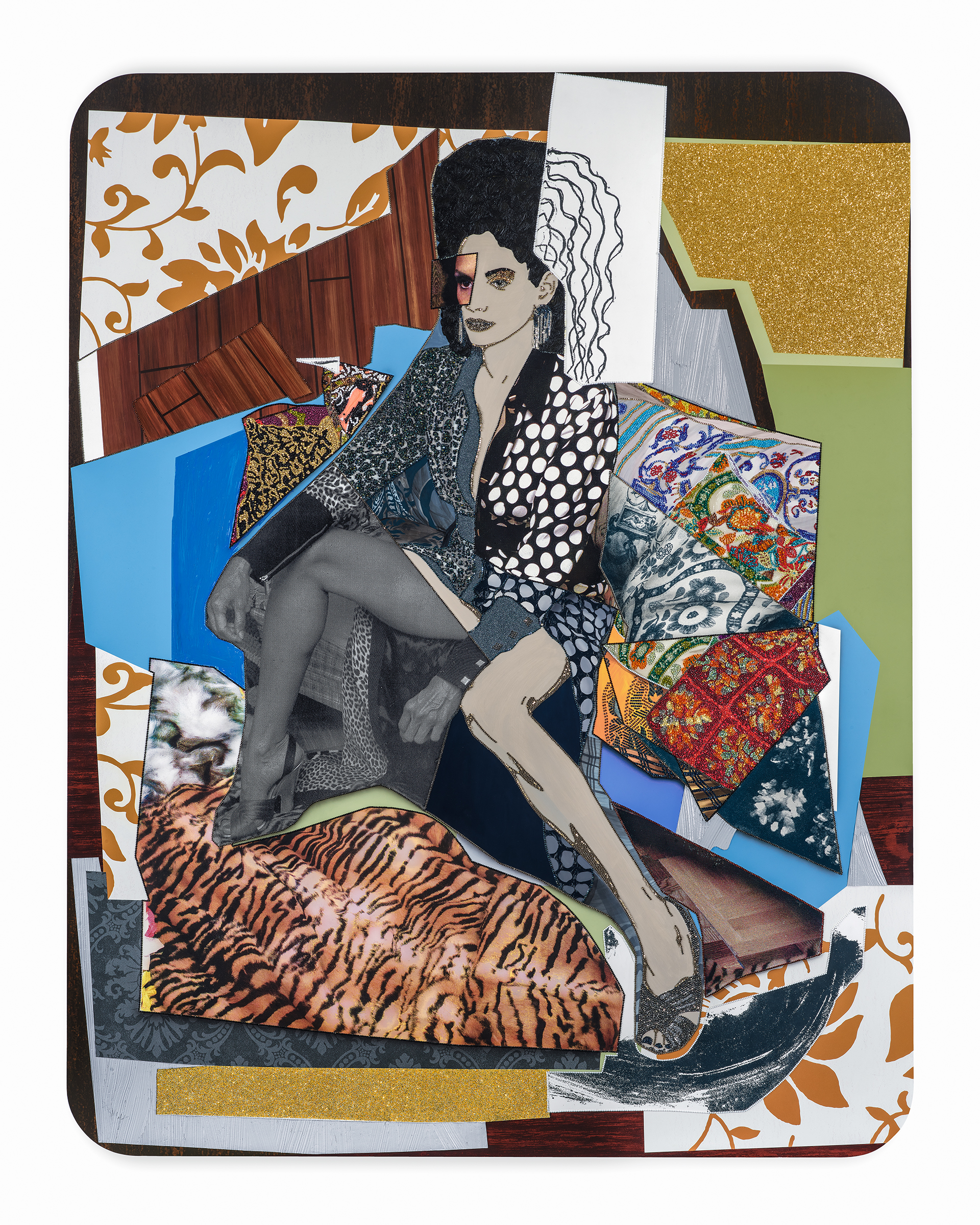 Racquel: Come to Me, 2017, Mickalene Thomas, rhinestones, acrylic, oil, glitter, and oil stick on wood panel, 108 x 84 x 2 in., Courtesy of the artist and Lehmann Maupin, New York and Hong Kong, © Mickalene Thomas.