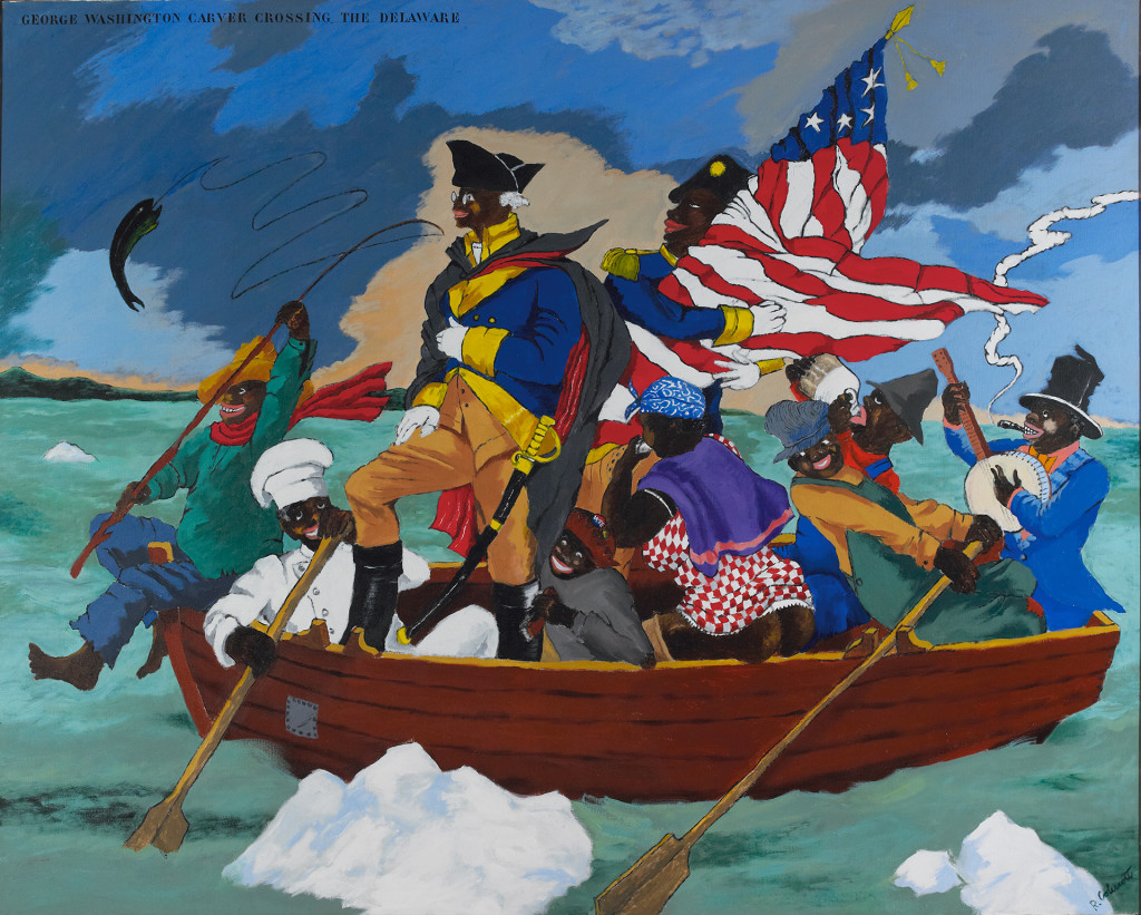 George Washington Carver Crossing the Delaware: Page from an American History Textbook, 1975, Robert Colescott, acrylic on canvas, 84 x 108 in., Private collection, Saint Louis, © 2017 Estate of Robert Colescott / Artists Rights Society (ARS), New York, photo: Jean Paul Torno.
