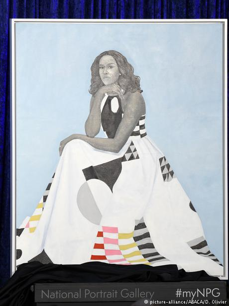 Former First Lady Michelle Obama's official portrait at the National Portrait Gallery (picture-alliance/ABACA/D. Olivier)