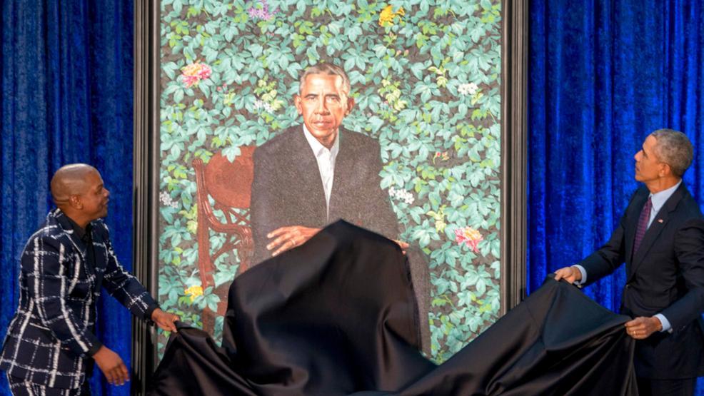 Картинки по запросу Presidential portraits obamas green