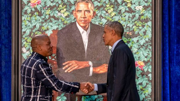 Kehinde Wiley painted a pensive Barack Obama in front of a lush background of flowers representing parts of the former ...