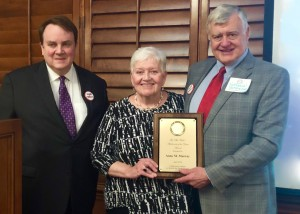 From left: Don Heath, OK-CADP chair; Phil Wahl Abolitionist of the Year Anne Murray; and Nathaniel Batchelder, OKC Peace House director. Photo by Darla Shelden.