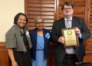 From left: Attorney Tamya Cox, Linda Toure, wife of the late Rep. Opio Toure; and 2018 Opio Toure Courageous Advocate Award winner Randy Bauman Oklahoma Federal Public Defender. Photo by Darla Shelden