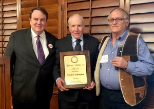 From left: Don Heath, OK-CADP chair; OK-CADP Lifetime Abolitionist Award recipient, Tom Gallagher; and attorney, Rex Friend. Photo by Darla Shelden.