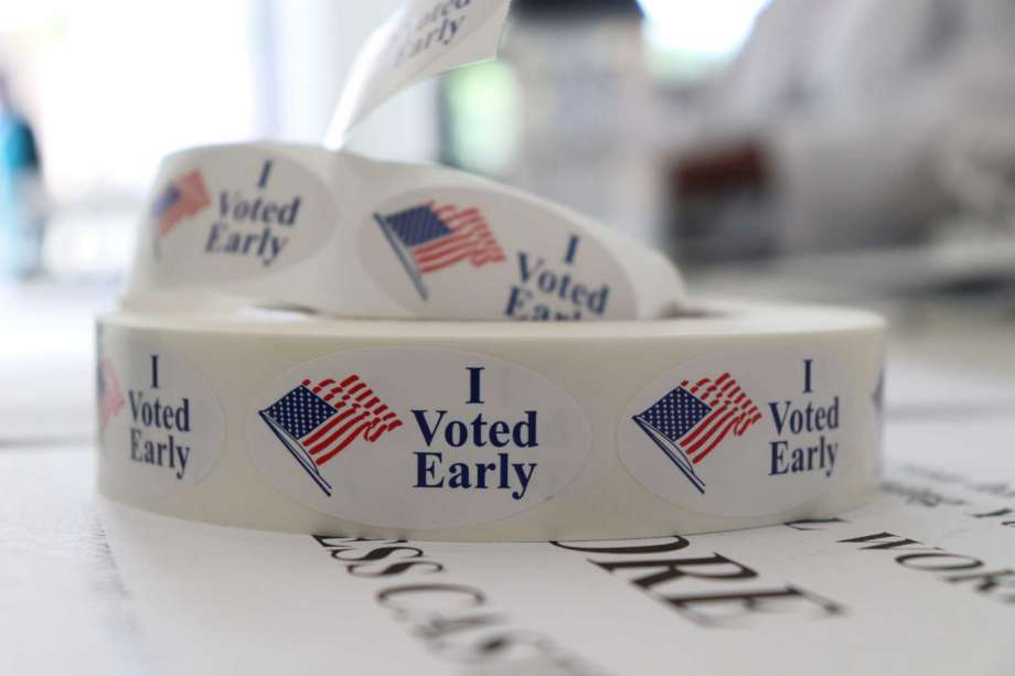 In this May 21, 2018, photo, a roll of stickers awaiting distribution to early voters sits on a table at the check-in station at the Pulaski County Courthouse Annex in Little Rock, Ark. Voters in four states are casting ballots Tuesday as the 2018 midterm elections take shape. Primaries are set in Arkansas, Georgia and Kentucky while voters in Texas settle several primary runoffs from their first round of voting in March. Photo: Kelly Kissel, AP / Copyright 2018 The Associated Press. All rights reserved.