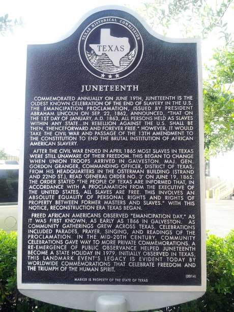 The first historical marker authorized by the Texas Historical Commission to commemorate Juneteenth, the issuance of the proclamation June 19, 1865, ending slavery in Texas was dedicated in 2014 on The Strand in Galveston.  / handout