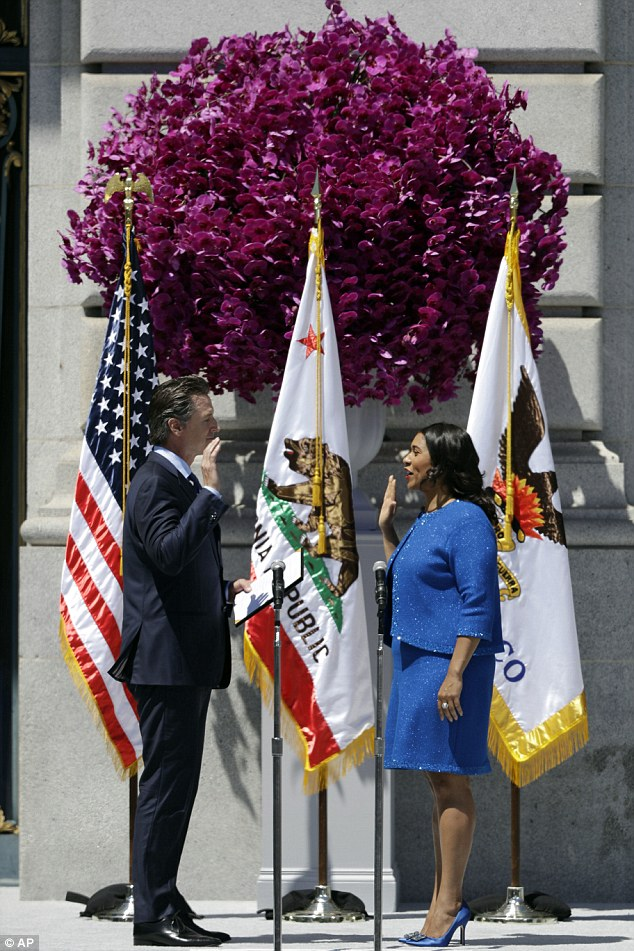 Historic moment: California Lt. Gov. Gavin Newsom, left, swears in London Breed as San Francisco's new mayor Wednesday