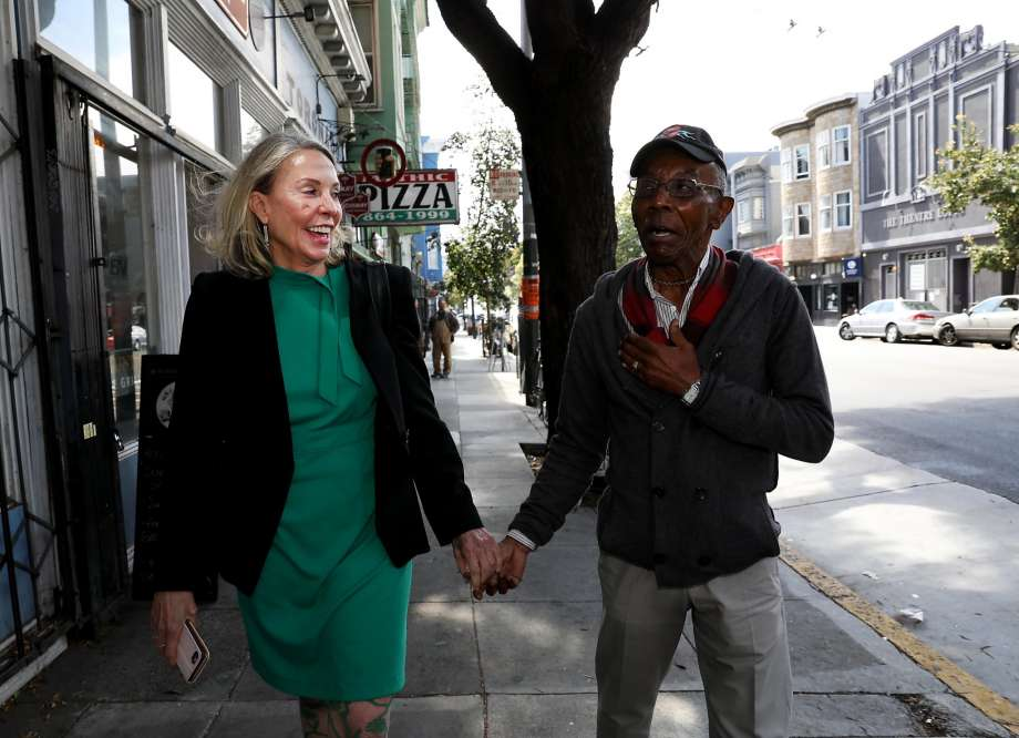 Vallie Brown, who now represents District Five on San Francisco's Board of Supervisors, strolls with resident Paul Willis, 76, through the Lower Haight. Photo: Photos By Yalonda M. James / The Chronicle