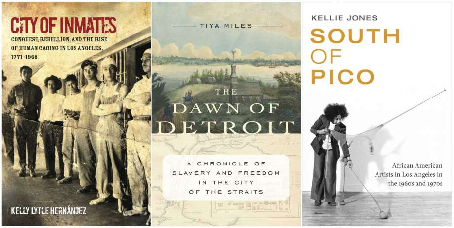 """This combination photo of book cover images shows """"City of Inmates: Conquest, Rebellion, and the Rise of Human Caging in Los Angeles, 1771-1965,"""" by Kelly Lytle Hernandez, from left, """"The Dawn of Detroit: A Chronicle of Slavery and Freedom in the City of the Straits,"""" by Tiya Miles and """"South of Pico: African American Artists in Los Angeles in the 1960s and 1970s,"""" by Kellie Jones, which are among this year's American Book Award winners for works reflecting the country's diversity. (University of North Carolina Press, from left, The New Press and Duke University Press via AP) Photo: AP / UNC Press/The New Press/Duke University Press"""