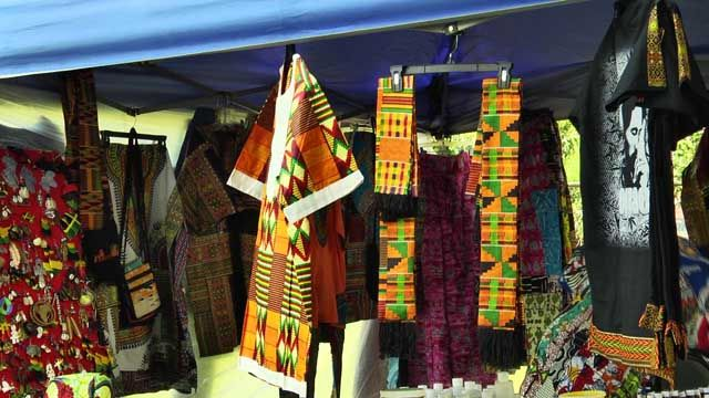 Vendor selling African clothing