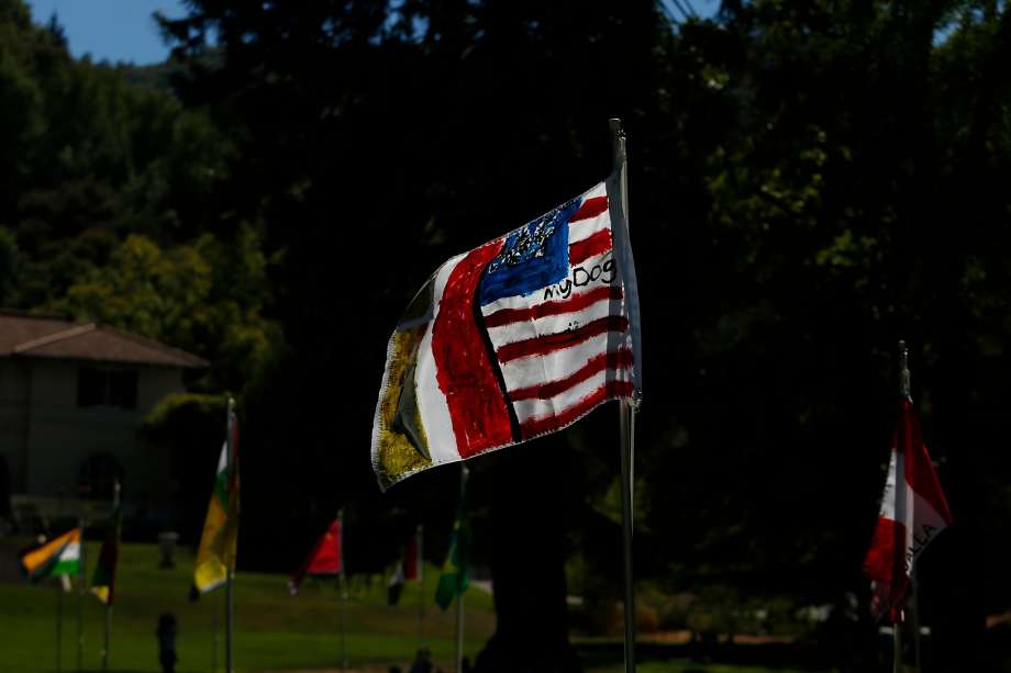 Immigrants made their own flags for the installation of Saudade (Our Flags) by Brazilian artist Maril Dardot at Montalvo in Saratoga. Many of them had personal references to their home countries. Photo: Liz Moughon / The Chronicle