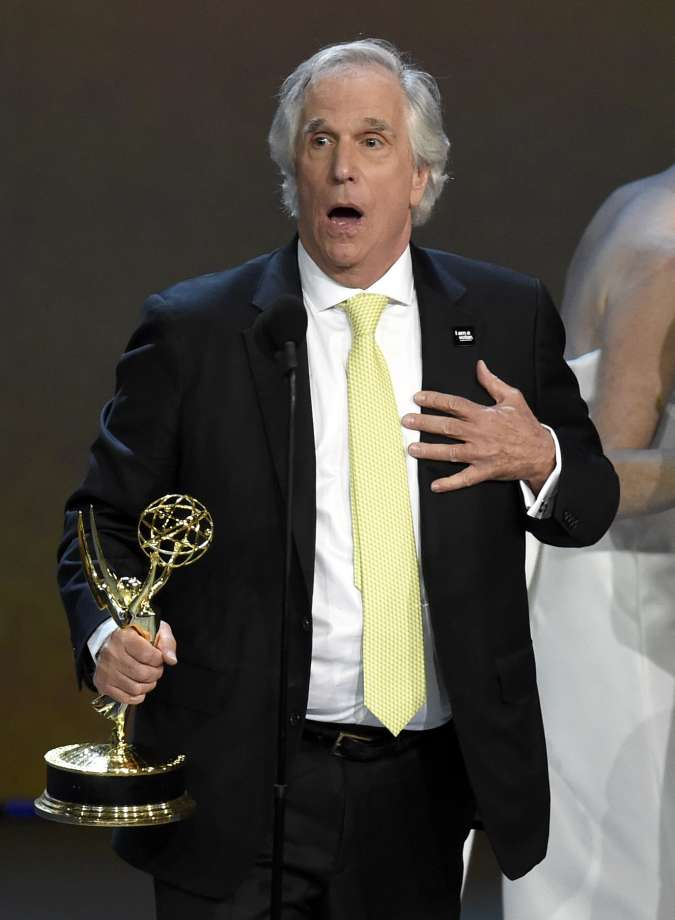 """Henry Winkler accepts the award for outstanding supporting actor in a comedy series for """"Barry"""" at the 70th Primetime Emmy Awards on Monday, Sept. 17, 2018, at the Microsoft Theater in Los Angeles. (Photo by Chris Pizzello/Invision/AP) Photo: Chris Pizzello / Invision"""
