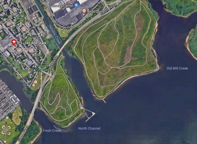 Google map screenshot of former Brooklyn landfills, Jamaica Bay
