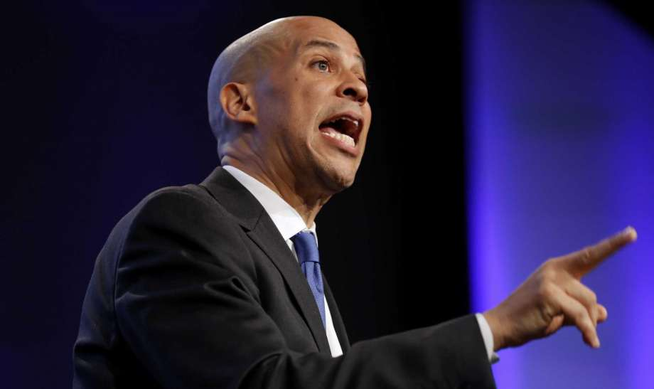 In this Oct. 6, 2018 photo, Sen. Cory Booker, D-N.J., speaks during the Iowa Democratic Party's annual Fall Gala, in Des Moines, Iowa. Booker is telling students on a historically black campus in the early presidential voting state of South Carolina that apathetic voters rather than Republicans are to blame for the nation's problems. Photo: Charlie Neibergall, AP / Copyright 2018 The Associated Press. All rights reserved