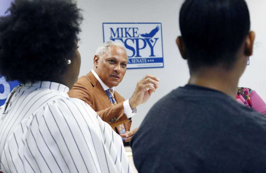 In this Oct. 5, 2018 photograph, Mike Espy, a former congressman and former U.S. agriculture secretary, speaks to college and high school students in a small forum on education in Jackson, Miss. Espy hopes to unseat appointed U.S. Sen. Cindy Hyde-Smith, R-Miss., and serve the last two years of the six-year term vacated when Republican Thad Cochran retired for health reasons. There are two other opponents in the non-partisan race. Photo: Rogelio V. Solis, AP / Copyright {2018} The Associated Press. All rights reserved