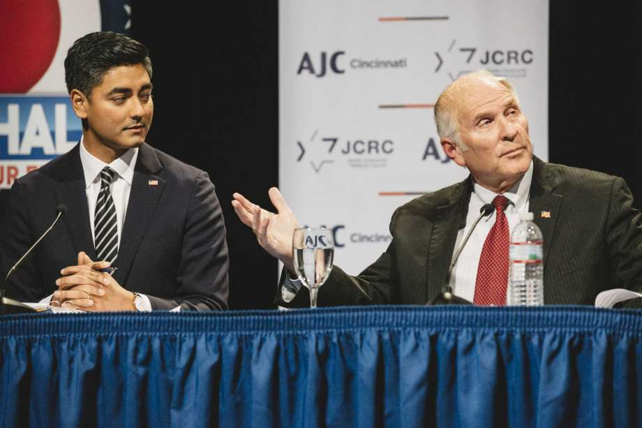 Democrat Aftab Pureval, left, is challenging Rep. Steve Chabot, R, in the race for Ohio's 1st District. Photo: Photo By Andrew Spear For The Washington Post / For The Washington Post
