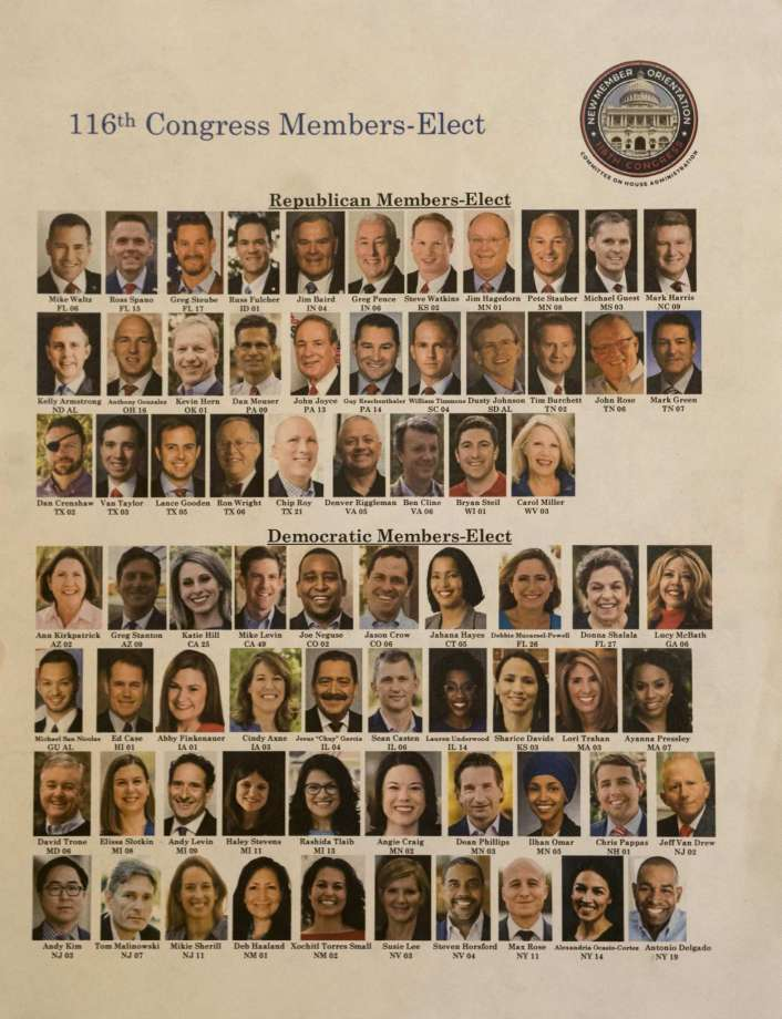 Photographs of the members-elect of the 116th Congress were distributed Tuesday on Capitol Hill. Photo: Washingotn Post Photo By Melina Mara / The Washington Post